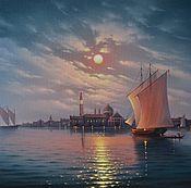 """Авторская картина маслом """"Полнолуние над Венецией"""" 40/70см."""