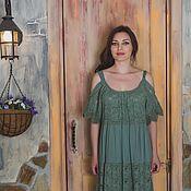 Одежда ручной работы. Ярмарка Мастеров - ручная работа Длинное кружевное платье в стиле БОХО. Handmade.