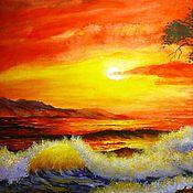 Картины и панно ручной работы. Ярмарка Мастеров - ручная работа Вечер, море.. Handmade.