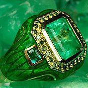 Ring set handmade. Livemaster - original item Colombian Emerald & Diamond Enamel Ring 14k. Handmade.