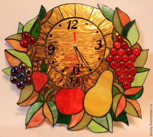 """Часы для дома ручной работы. Ярмарка Мастеров - ручная работа. Купить Витражные часы """"Золотое изобилие"""". Handmade. Золотой, часы"""