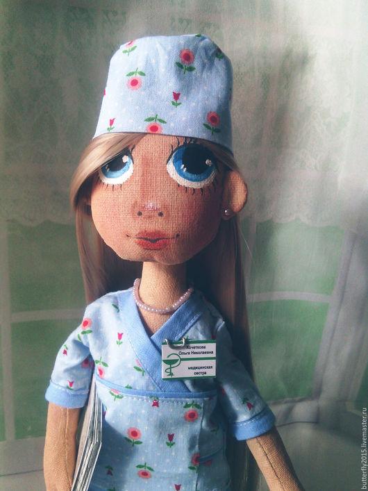 """Портретные куклы ручной работы. Ярмарка Мастеров - ручная работа. Купить портретная куколка """"Мед. сестра"""". Handmade. Голубой, профессия"""