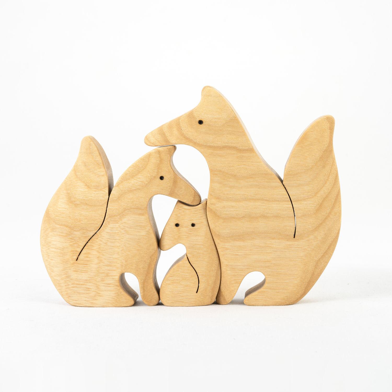 Лисички семейка-пазл неокрашенные. Деревянная развивающая игрушка, Игрушки животные, Смоленск, Фото №1