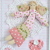 """Панно текстильное""""Лесные феи"""" вышивка бисером,ангелы,розовый зеленый"""