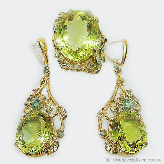 Set of 925 sterling silver with natural lemon quartz and sapphires, Jewelry Sets, Moscow,  Фото №1