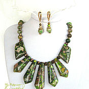 Украшения handmade. Livemaster - original item Gemstone Necklace, Green Variscite graduated slices. Handmade.