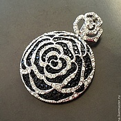 Материалы для творчества handmade. Livemaster - original item Pendant art. 3-26 in the form of a flower with black cubic Zirconia. Italy. Handmade.
