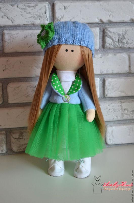 Коллекционные куклы ручной работы. Ярмарка Мастеров - ручная работа. Купить Интерьерная куколка. Handmade. Ярко-зелёный, купить, синтепух