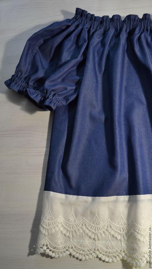 Блузки ручной работы. Ярмарка Мастеров - ручная работа. Купить Блузка Деним. Handmade. Синий, блузка из хлопка, бохо