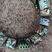 Украшения ручной работы. Ярмарка Мастеров - ручная работа колье из полимерной глины этника зеленый. Handmade.