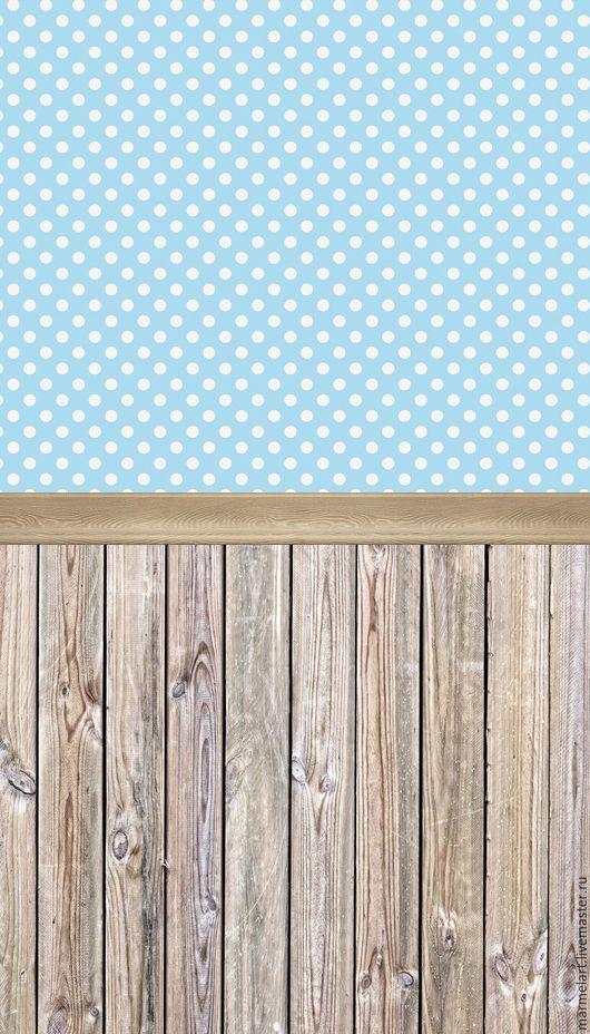 """Другие виды рукоделия ручной работы. Ярмарка Мастеров - ручная работа. Купить Двойной Фон """"Стена-пол"""" Голубой в горошек - белесое дерево. Handmade."""