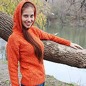 "Одежда handmade. Livemaster - original item Sweater for woman ""Di Caprio"" Orange. Handmade."