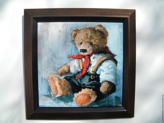 Репродукции ручной работы. Ярмарка Мастеров - ручная работа. Купить Тедди пионер. Handmade. Тедди мишка, панно на стену
