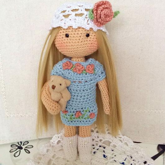 Человечки ручной работы. Ярмарка Мастеров - ручная работа. Купить Леди, вязаная куколка. Handmade. Голубой, интерьерная кукла