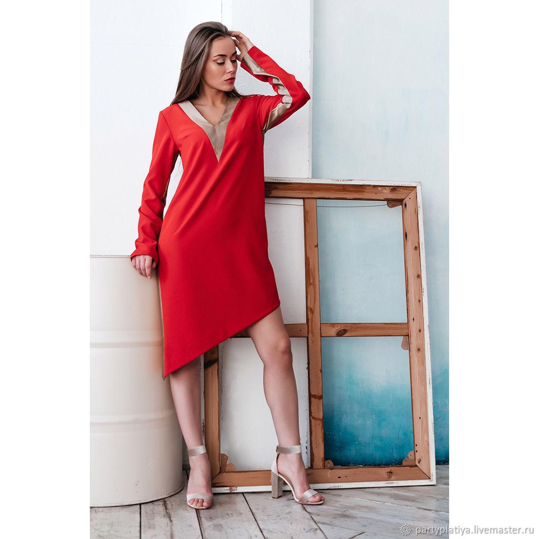 7731ab687b5 ручной работы. Ярмарка Мастеров - ручная работа. Купить Стильное красное  платье.