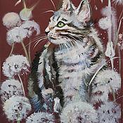 Картины и панно handmade. Livemaster - original item Creamy dandelions - pastel painting. Handmade.
