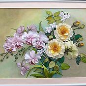 """Картины и панно ручной работы. Ярмарка Мастеров - ручная работа Картина лентами """"Любителям орхидей"""". Handmade."""