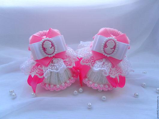 """Для новорожденных, ручной работы. Ярмарка Мастеров - ручная работа. Купить пинетки """" Камилла"""". Handmade. Розовый, пинетки спицами"""