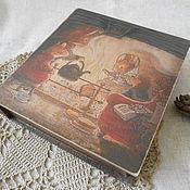 """Для дома и интерьера ручной работы. Ярмарка Мастеров - ручная работа Шкатулка книга """"Чаепитие у очага"""". Handmade."""