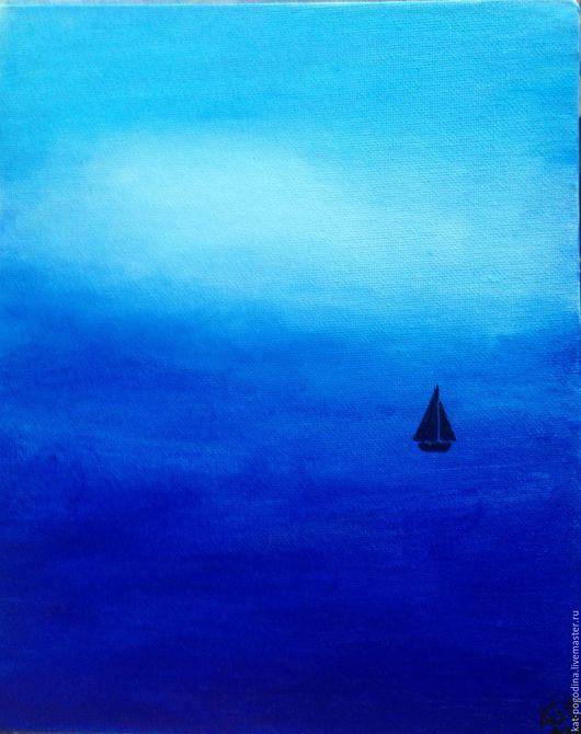 Пейзаж ручной работы. Ярмарка Мастеров - ручная работа. Купить Туман. Handmade. Синий, море, парусник, путешествие, мечты, туман