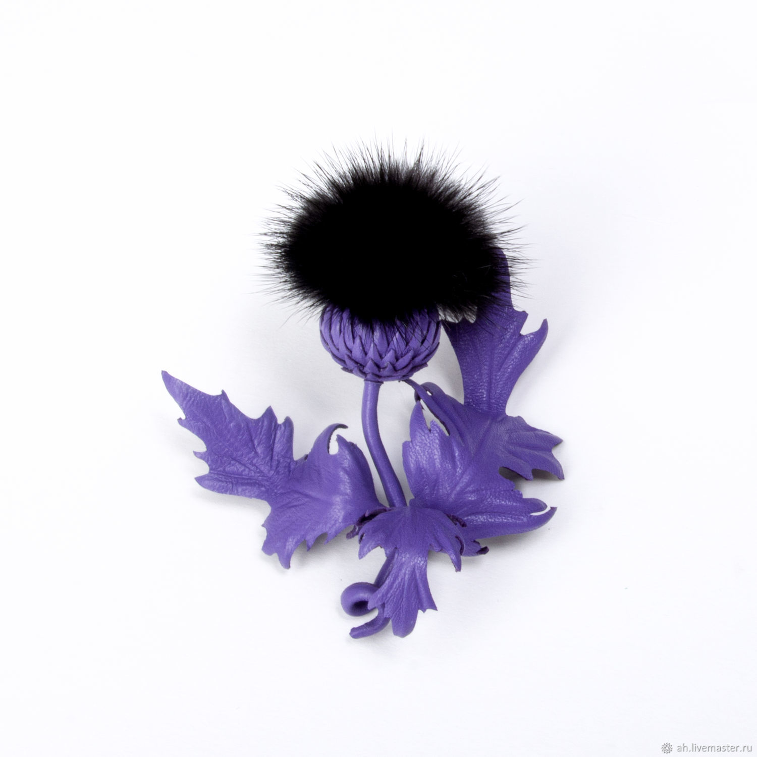 Purple Thistle brooch made of leather and fur, Brooches, Tver,  Фото №1