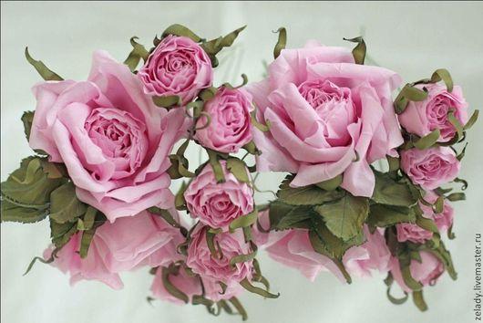 """Цветы ручной работы. Ярмарка Мастеров - ручная работа. Купить Нежные розочки для прически """"За розовыми облаками"""". Handmade. розовый"""