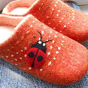 Обувь ручной работы handmade. Livemaster - original item Felted women`s Slippers with double heel Solar.. Handmade.