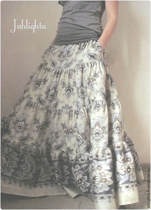 """Юбки ручной работы. Ярмарка Мастеров - ручная работа. Купить Длинная юбка с карманами """"Степная"""". Handmade. Бежевый, юбка ярусная"""