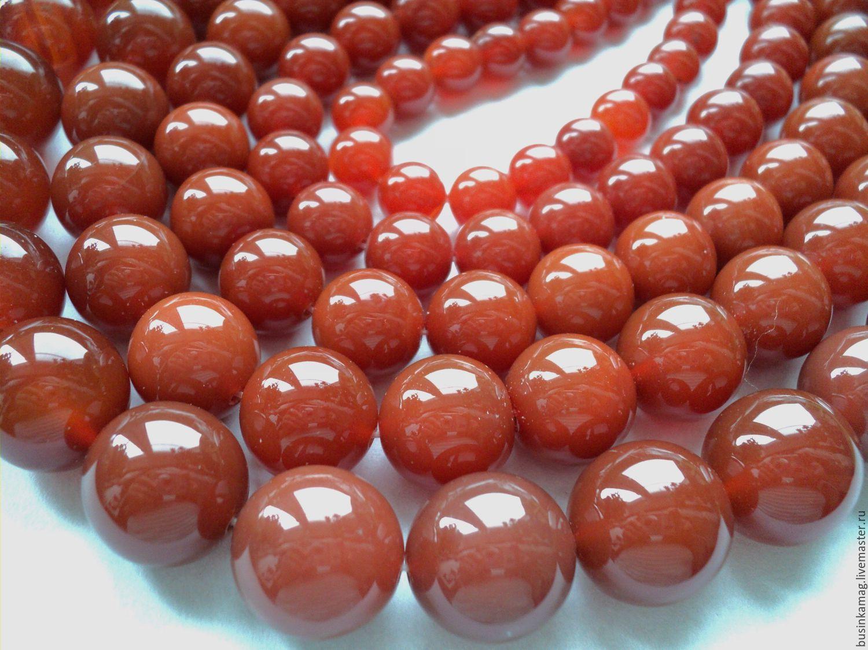 Carnelian smooth beads 10mm, 12mm, 14mm, 16mm, 18mm, Beads1, Zheleznodorozhny,  Фото №1