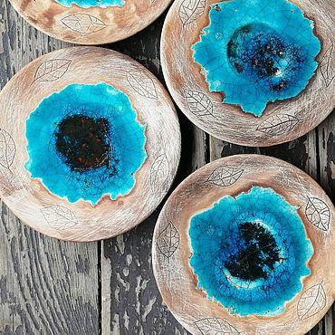 Посуда ручной работы. Ярмарка Мастеров - ручная работа Синяя Вода, сервиз, набор посуды для чая, керамика ручной работы лофт. Handmade.
