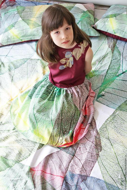 Одежда для девочек, ручной работы. Ярмарка Мастеров - ручная работа. Купить Платье из натурального  сатина ЛИСТОК 8-9лет. Handmade.