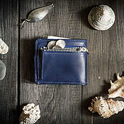 Кошельки ручной работы. Ярмарка Мастеров - ручная работа Портмоне из натуральной кожи с отделением для монет -PRIDE- цвет Синий. Handmade.