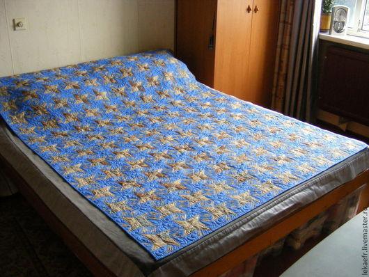 """Текстиль, ковры ручной работы. Ярмарка Мастеров - ручная работа. Купить Лоскутный плед-одеяло """"Звездное небо"""". Handmade. Голубой"""