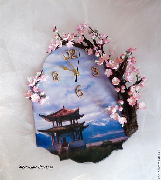 Часы для дома ручной работы. Ярмарка Мастеров - ручная работа. Купить Часы с сакурой. Handmade. Розовый, полимерная глина