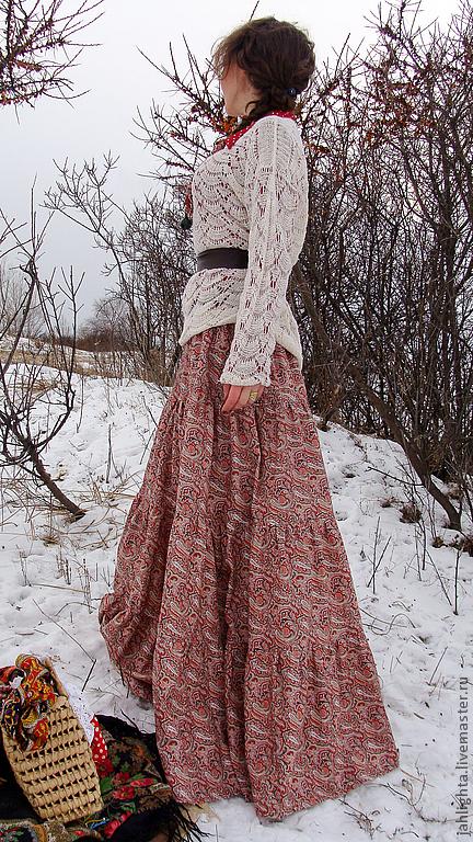 """Юбки ручной работы. Ярмарка Мастеров - ручная работа. Купить Длинная юбка """"Терракота"""". Handmade. Бежевый, Джалайта, 100% хлопок"""