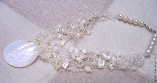 Necklaces & Beads handmade. Livemaster - handmade. Buy Pearl necklace Vozdushka.Present, pearl, air necklace, beads