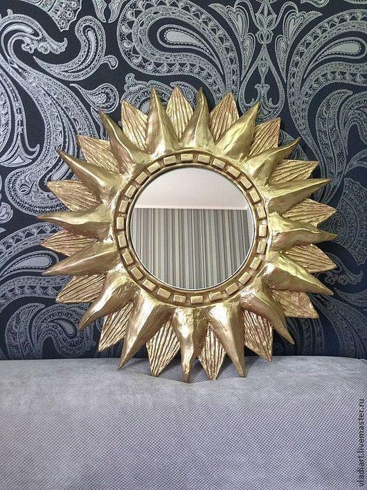 """Зеркала ручной работы. Ярмарка Мастеров - ручная работа. Купить Зеркало солнце """"Аполлон"""". Handmade. Настенное зеркало, солнышко, медальон"""