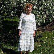 Одежда handmade. Livemaster - original item Author white knit dress Lucia. Handmade.