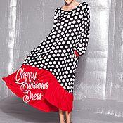 Одежда ручной работы. Ярмарка Мастеров - ручная работа Черно-белое в горошек длинное летнее повседневное макси платье. Handmade.
