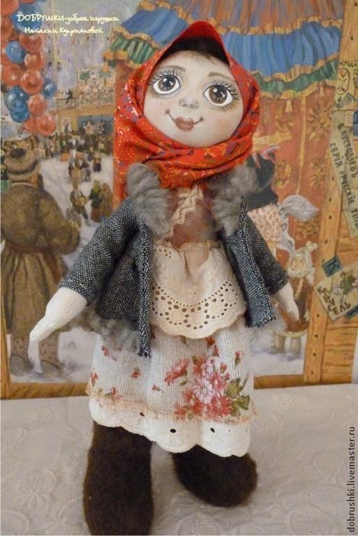 Текстильная кукла Агаша. 28 см.  ДОБРУШКИ-добрые игрушки Наталии Куприяновой.