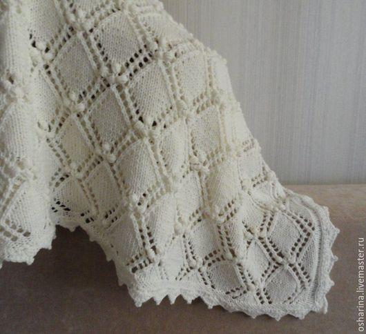 """Текстиль, ковры ручной работы. Ярмарка Мастеров - ручная работа. Купить Плед """"Ванильное молоко"""". Handmade. Белый, плед вязаный"""