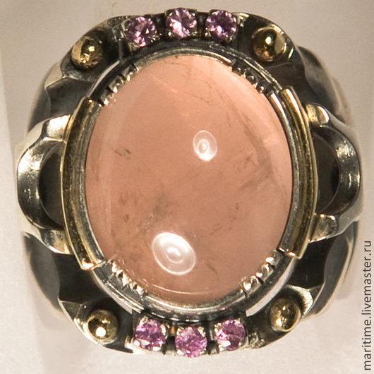 """Кольца ручной работы. Ярмарка Мастеров - ручная работа. Купить Кольцо с розовым кварцем """"Зорюшка"""". Handmade. Розовый кварц"""