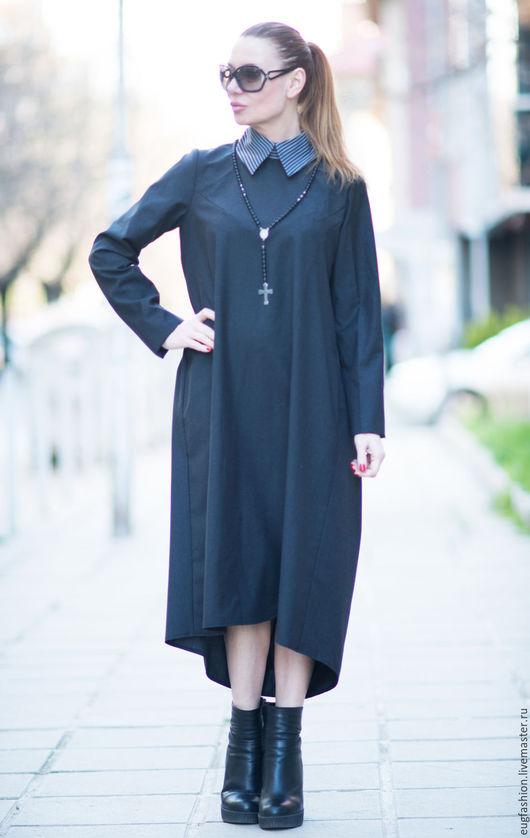 Черное платье. Платье. Модное платье. Ручная работа. Ярмарка Мастеров.