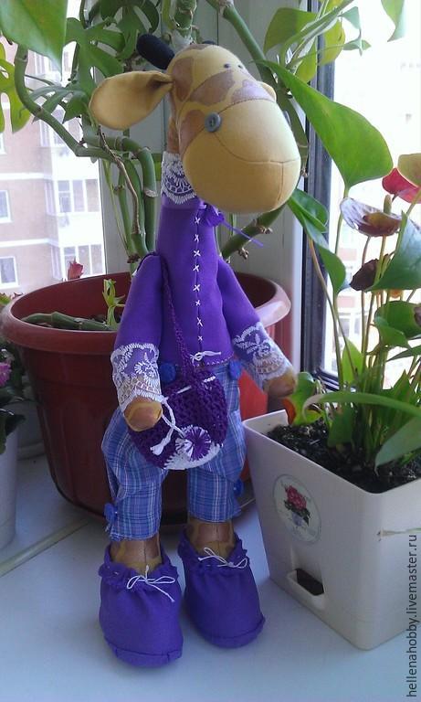 Куклы Тильды ручной работы. Ярмарка Мастеров - ручная работа. Купить Жираф Тильда. Handmade. Сиреневый, жирафик, ручная работа