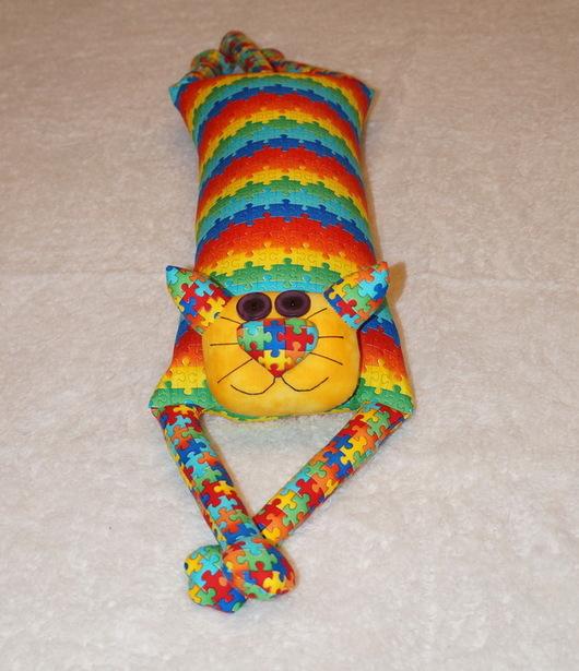 """Автомобильные ручной работы. Ярмарка Мастеров - ручная работа. Купить Игрушка-подушка """"Радужный кот"""" яркий пазл (вариант 2). Handmade."""