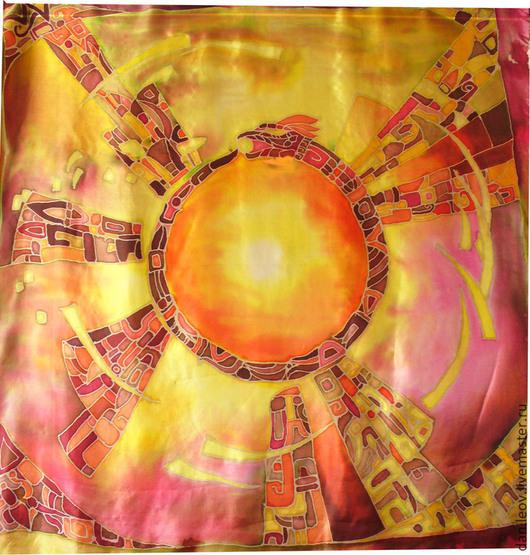 """Шарфы и шарфики ручной работы. Ярмарка Мастеров - ручная работа. Купить батик платок """"Знак Солнца"""". Handmade. Оранжевый, ацтеки"""