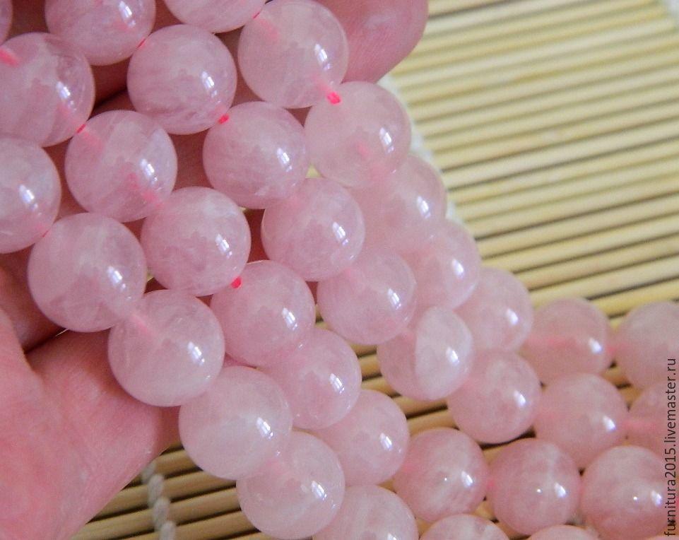 Rose Quartz, beads stone, Madagascar, 12 mm, Beads1, Saratov,  Фото №1