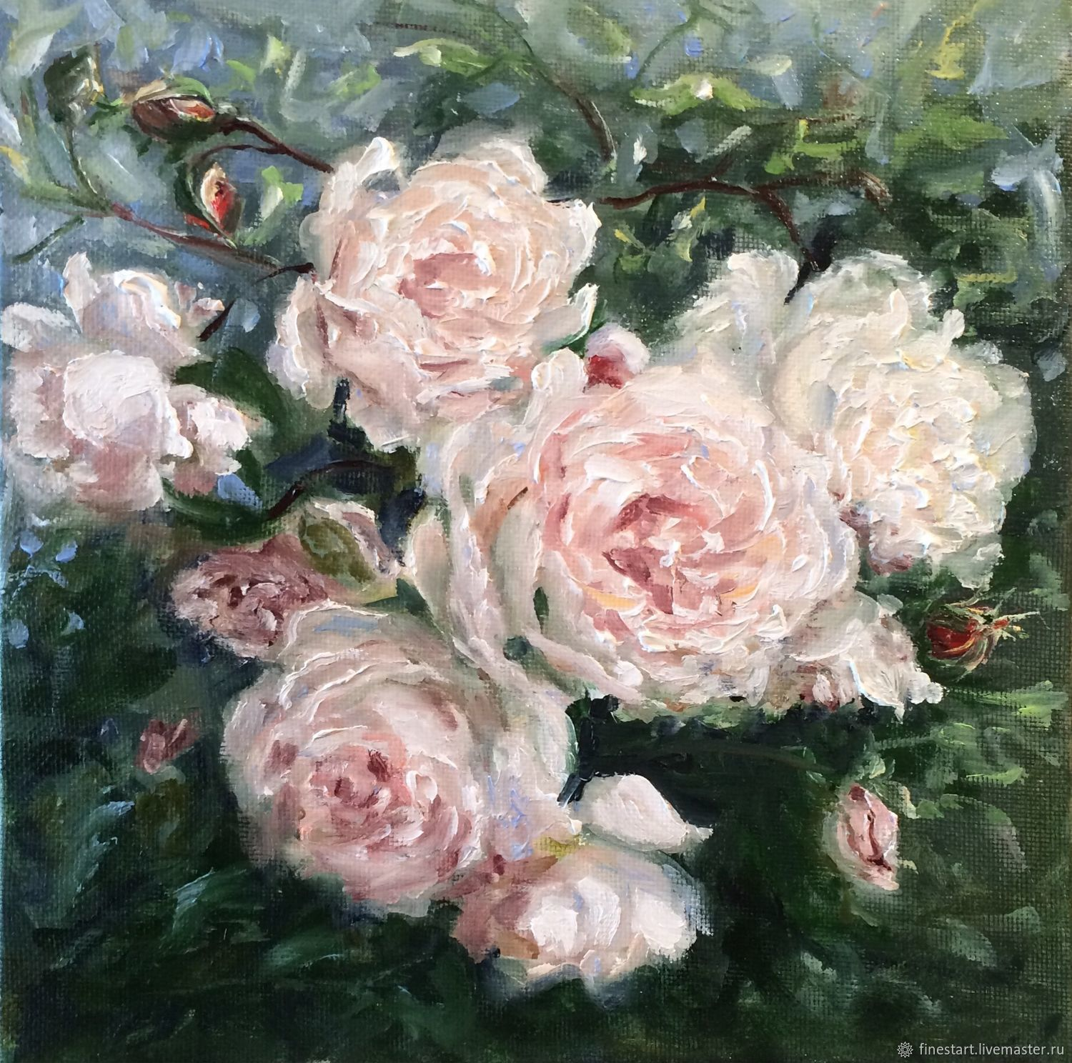 Oil Painting White Rose Painting Shop Online On Livemaster With