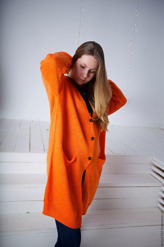 """Большие размеры ручной работы. Ярмарка Мастеров - ручная работа. Купить Пальто летнее """"Оранжевое солнце"""". Handmade. Рыжий"""