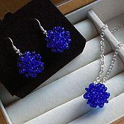 Украшения handmade. Livemaster - original item Pendant and earrings bead twin blue dress glossy. Handmade.